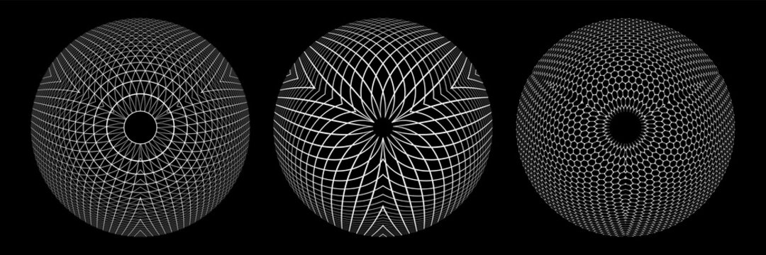Abstract geometric spherical shapes. 3D illusion.