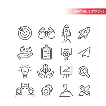 Business startup line vector icon set. Growth, start up development and launch icons. Outline, editable stroke.