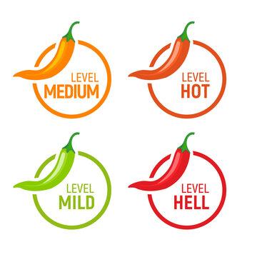 Hot pepper spicy heat level icon. Chili pepper symbol vector scale spice fire logo label