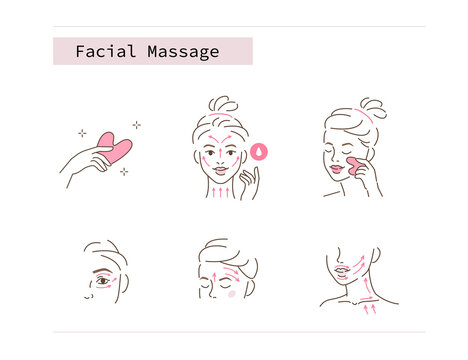 Beauty Girl Take Care of her Face and Use Facial Jade Stone for Gua Sha Massage. Woman Making Skincare Procedures. Skin Care Facial Massage and Relaxation Concept. Flat Vector Illustration and Icons.