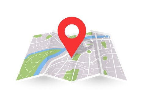 Folded city map with pin. Paper 3D location place icon. Vector gps navigation concept.