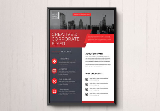Corporate Business Flyer with Red Accents
