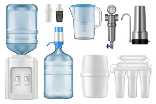 Water filter realistic vector mockups. 3d filtration jug and purification system of reverse osmosis with storage tank, filter tap and cartridges, cooler, bottle with pump, filtration equipment design