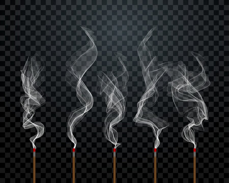 Aroma sticks smoke vector background on transparent. Wood stick scent air aromatherapy