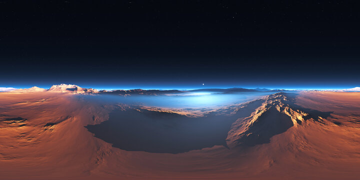 360 degree panorama of the cold desert on Mars. Martian Landscape, environment HDRI map. Equirectangular projection, spherical panorama
