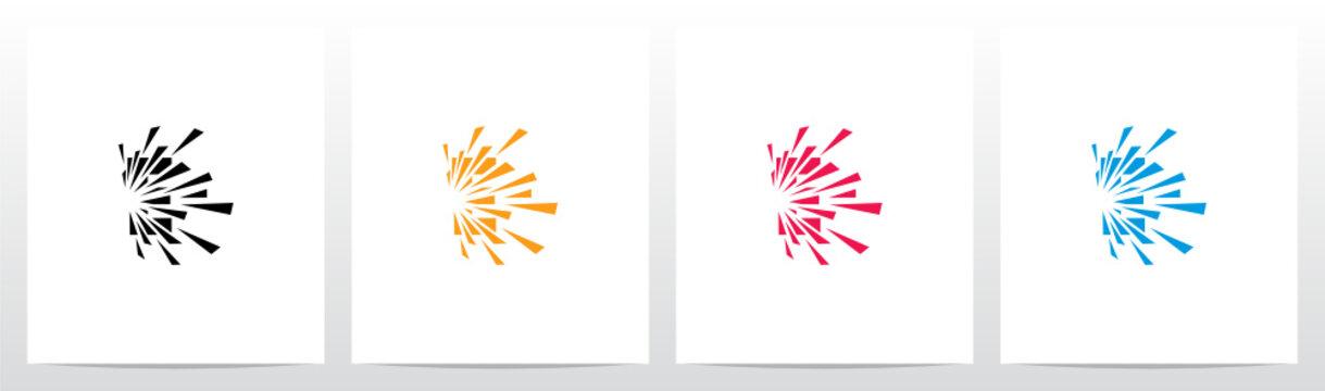 Debris Explosion On Letter Logo Design E
