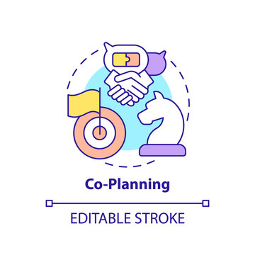 Co-planning concept icon. Co-production element idea thin line illustration. Participatory approach to design. Consensus and cooperation. Vector isolated outline RGB color drawing. Editable stroke