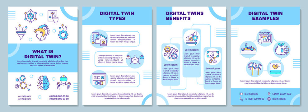 Digital twin brochure template. Flyer, booklet, leaflet print, cover design with linear icons. Computerized development cycle. Vector layouts for magazines, annual reports, advertising posters