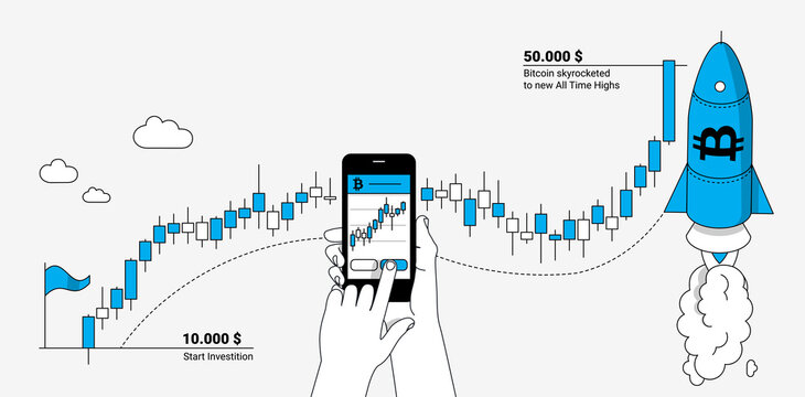 Trading bitcoin on mobile device. Online trading platform and cryptocurrency concept. Modern linear illustration.