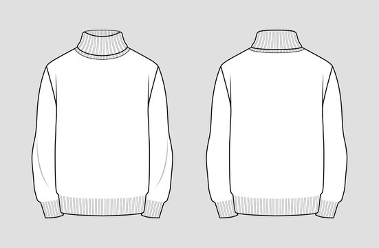 Turtleneck sweater vector template. Men's clothing. Front and back view. Outline fashion technical sketch of apparel.