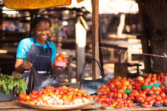 portrait of a happy african woman selling tomatoes and vegetables in a local market