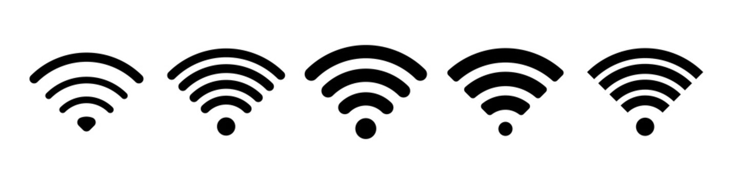 Wifi icon or wi fi symbol of signal wave, vector logo of free public internet access hot spot