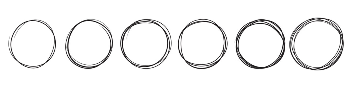 Hand drawn sketch lines, round scribble frames, vector, circular pencil doodle highlights