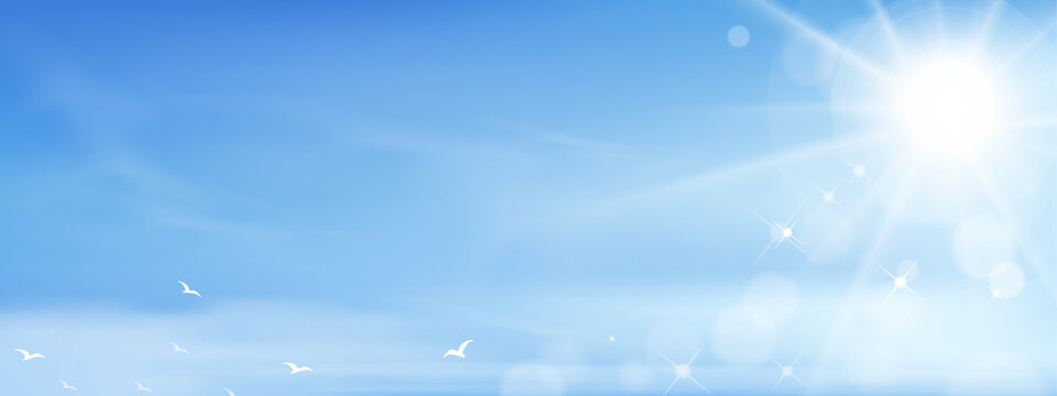 Blue sky with Sun shining,bird flying on altostratus clouds,Vector Cartoon sky with fluffy cirrus cloud, Concept of seasonal horizon banner in sunny day on spring and summer in the morning