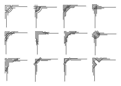 Art deco corners collection. Vector geometric borders set. Orante wedding invintation element. Vintage border elements