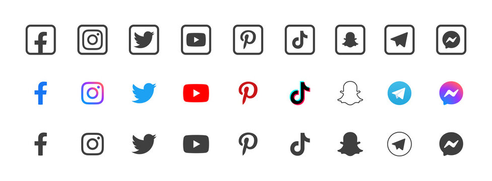 Social media, apps, services - vector icons collection set