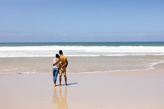 Rear view of african american couple embracing on a beach looking at the sea