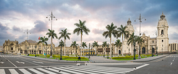 Fototapeta Lima, Peru: the Main square of Lima, with government palace and the cathedral church.