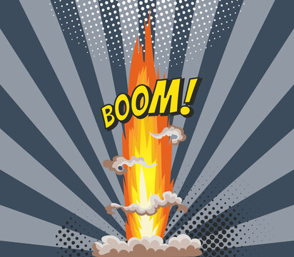 Cartoon explosion effect with smoke. Colorful funny banner in comics book and pop art style. Comic book explosion bang on sunbeam striped background