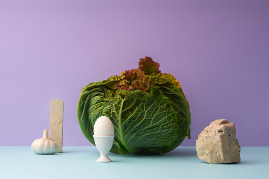 Still life with savoy cabbage and egg on lilac and blue background