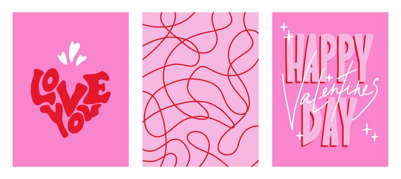 Cute minimalistic posters for Valentine's Day. Valentine's Day cards. Pink and red colors. Posters with lettering. Vector illustration, background, invitation, banner, postcards