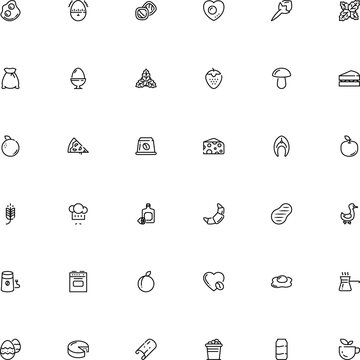 icon vector icon set such as: monochrome, minute, stove, pressure, simplicity, business, sedative, t-bone, decor, cocktail, pot, pizzeria, texture, fish, champignon, electrical, container, bbq