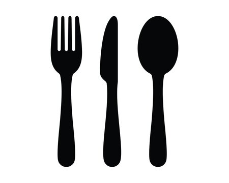 Cutlery icon. Fork, knife, spoon icon. Simple icon vector design.
