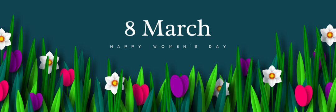 8 March greeting banner for International Womens Day. Bouquet of paper cut spring flowers tulips and narcissus on dark background. Vector illustration.