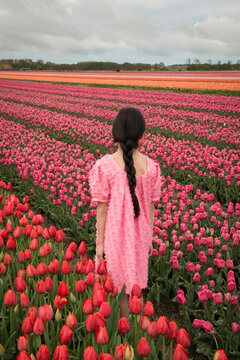 Conceptual portrait of a girl in pink dress standing in a colorful field of tulip flowers in Holland in spring