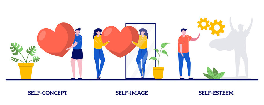 Self-concept, self-image, self-esteem concept with tiny people. Personal image abstract vector illustration set. Social role, individual psychology, confidence, positive self-perception metaphor