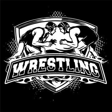 vector of wrestling badge logo illustration