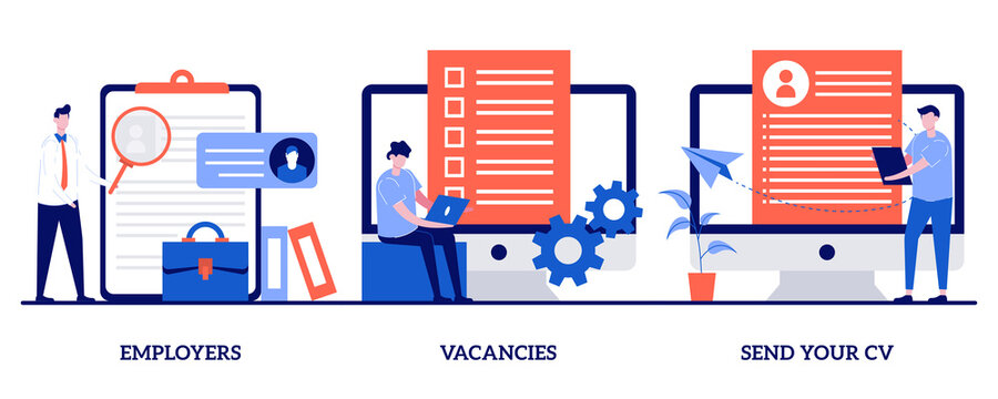 Employers, vacancies, send your CV concept with tiny people. Apply for a job abstract vector illustration set. Hiring, hr service, start your career, company corporate website, headhunting metaphor