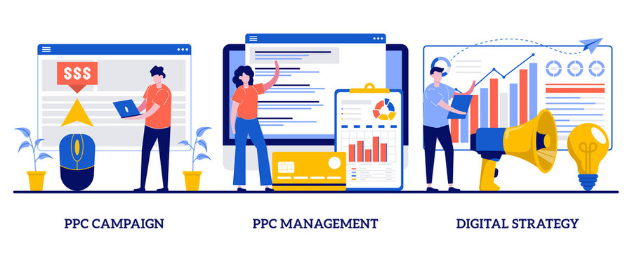 PPC campaign management, digital strategy concept with tiny people. Digital marketing plan vector illustration set. Pay-per-click, internet marketing tools, online ad, targeted promotion metaphor