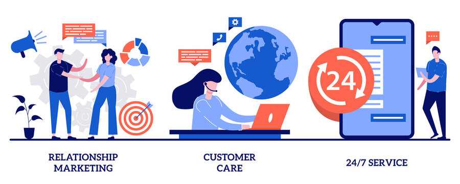 Relationship marketing, customer care, 24 for 7 service concept with tiny people. Customer loyalty vector illustration set. Social media, online tech support, emergency line schedule metaphor