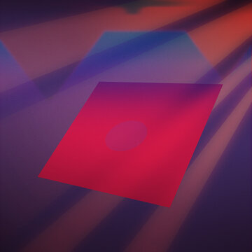 1980s retro design disk with blurry and creative abstract background. Colorful concept with pink and red colors. Vintage illustration