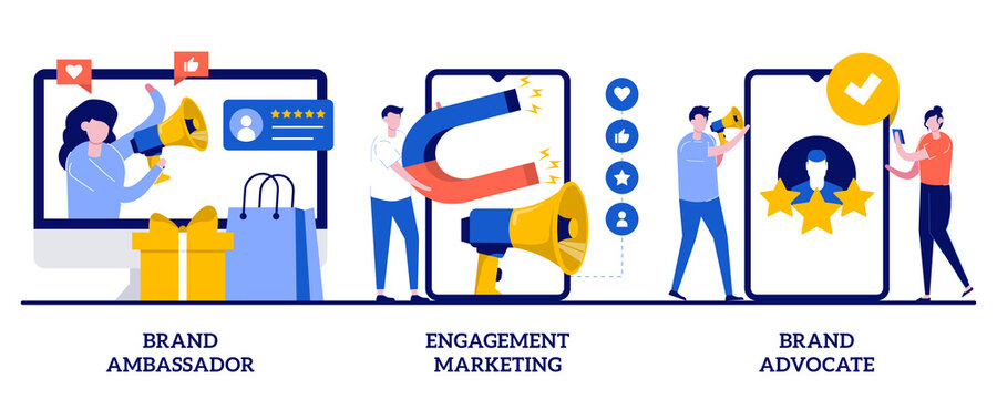 Brand advocate and ambassador, engagement marketing concept with tiny people. Internet marketing abstract vector illustration set. Brand representative, trademark, smm marketing strategy metaphor