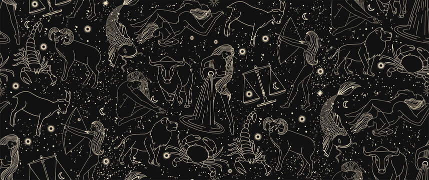 Seamless pattern - signs of the zodiac. Gold illustration of astrological signs on a dark background. Magical illustrations of women and animals in the starry sky.