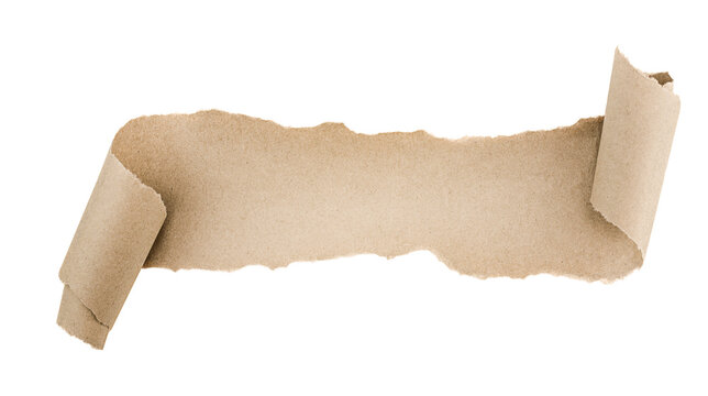 torn piece of brown paper on isolated white background