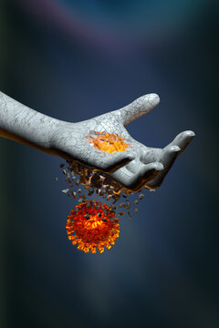 3d illustration of virus cell penetrating and destroying human hand representing medicine and health care concept design on gray background