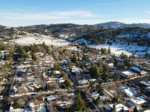 Aerial view of historic Downtown City of Julian during snow day. Famous for it's apple pies, and the Wilcox Building.California, USA