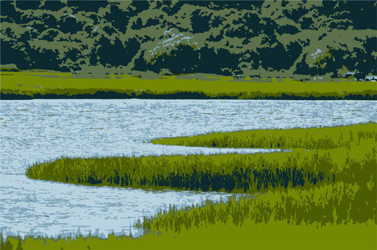 Vector illustration of South River Marsh with marsh grass river and trees