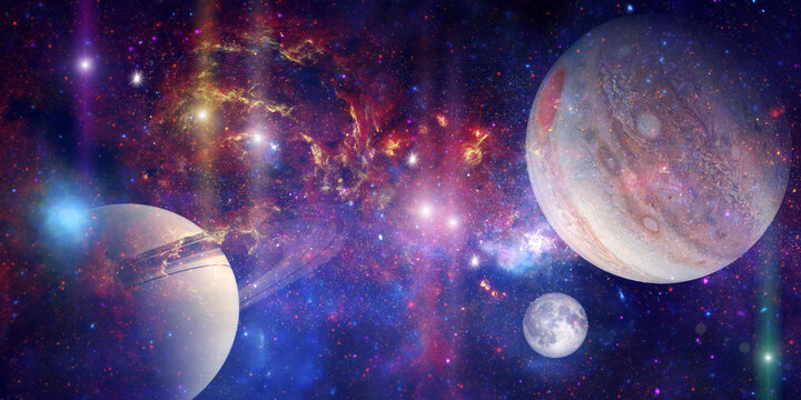 Space wallpaper banner background. Stunning view of a cosmic galaxy with planets and space objects. Elements of this image furnished by NASA.