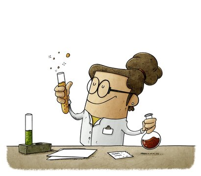 female scientist is mixing liquids in test tubes. Vaccine search concept. isolated
