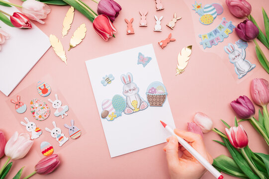 DIY ideas and step by step instructions for making Easter Card. Instruction how to make handmade card for beginners with stickers and flowers nearby