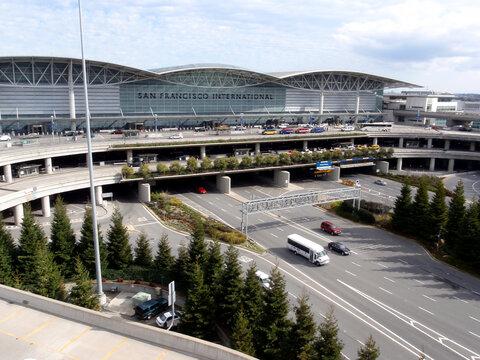 Aerial of San Francisco International Airport entrance