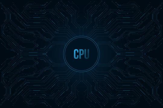 Futuristic fingerprint biometric data security. Big data CPU. Glowing blue HUD round element. Scan user. Touch screen panel. Computer circuit board pattern. Vector illustration.