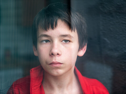 Portrait of a teenage boy at home looking through a window
