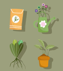 gardening icon set watering can plants and pack seeds hand drawn color