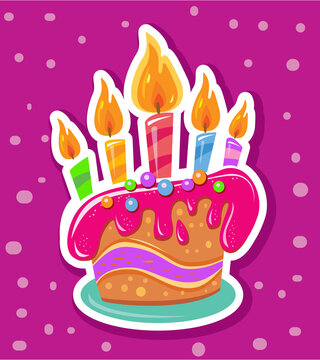 Sticker with Birthday cake and colorful candles