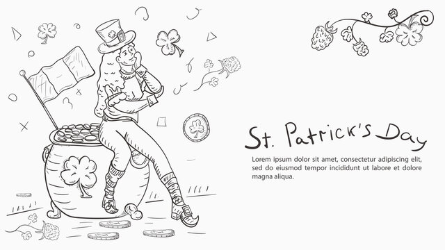 Contour illustration banner in the style of childrens doodles for the design of designs on the theme of the holiday of St. Patricks day A leprechaun girl sits on a pot with gold coins
